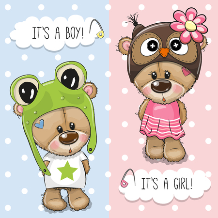 Baby Shower greeting card with Cute Bears boy and girl