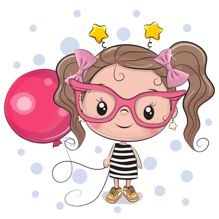 Cute Cartoon Girl with pink glasses and balloon Stock Illustratie