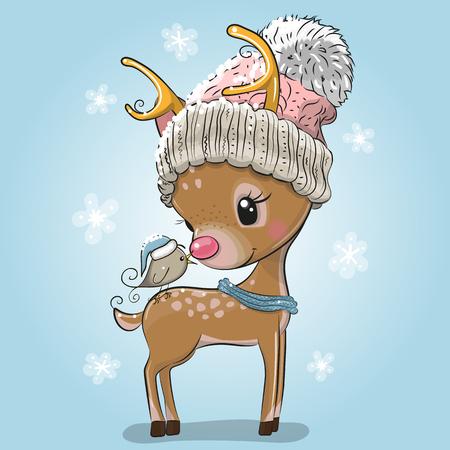 Cute cartoon Deer hat with bird on a blue background