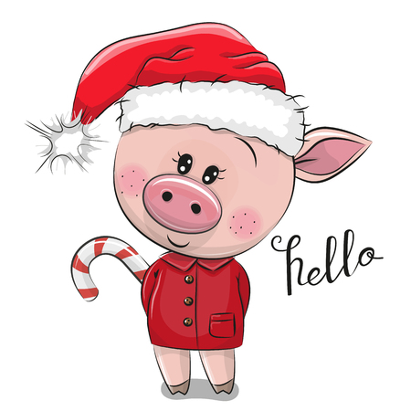 Cute Cartoon pig in Santa hat on a white background