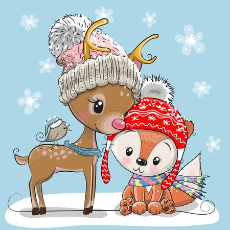 모자에 귀여운 사슴 여우와 새의 겨울 그림 벡터 (일러스트)