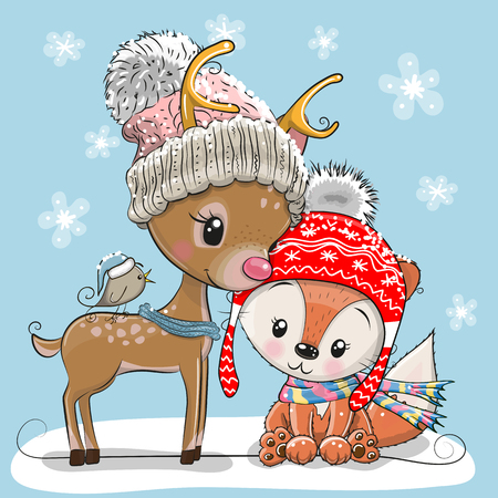 Winter illustration of cute deer fox and bird in hats