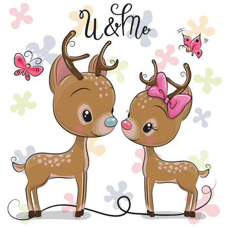 Cute Deers boy and girl on a hearts background 일러스트
