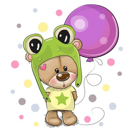 Greeting card Cute Cartoon Teddy Bear in a frog hat with balloon
