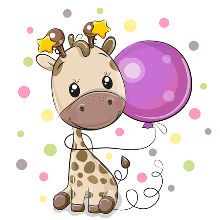 Greeting card Cute Cartoon Giraffe with purple balloon Çizim