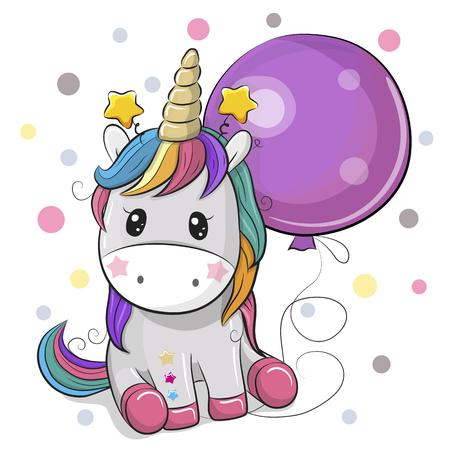 Greeting card Cute Cartoon Unicorn with purple balloon