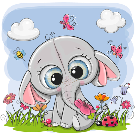 Cute Cartoon Elephant on a meadow with flowers and butterflies Ilustracja