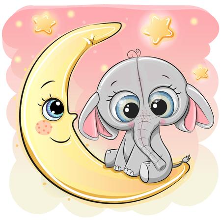Cute Cartoon Elephant is sitting on the moon Çizim