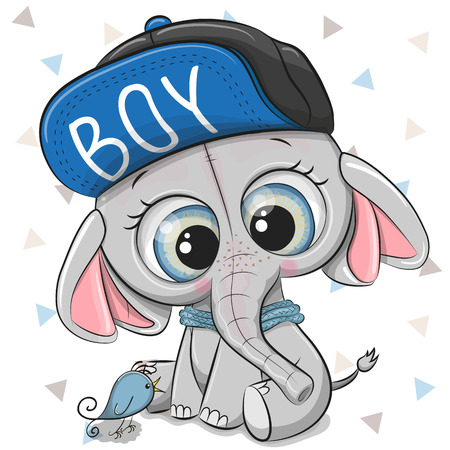 Cute Cartoon Elephant with a blue cap on a white background Иллюстрация