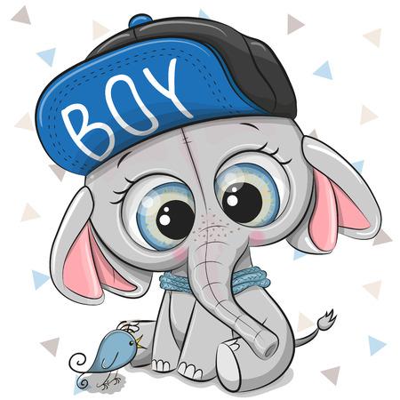 Elefante de dibujos animados lindo con una gorra azul sobre un fondo blanco