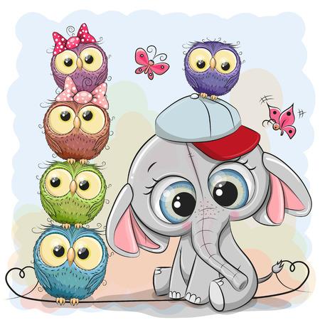 Cute Cartoon Elephant and Owls on a blue background Çizim