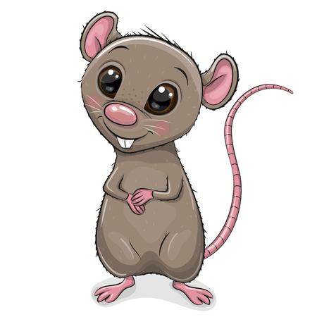 Rat de dessin animé mignon isolé sur fond blanc Vecteurs