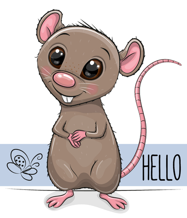 Cute Cartoon Rat isolated on a white background Иллюстрация