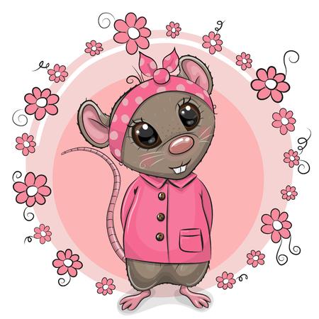 Greeting card Cute Cartoon Rat with flowers Ilustración de vector