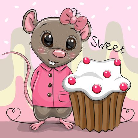 Greeting card Cute Cartoon Rat girl with cake Çizim