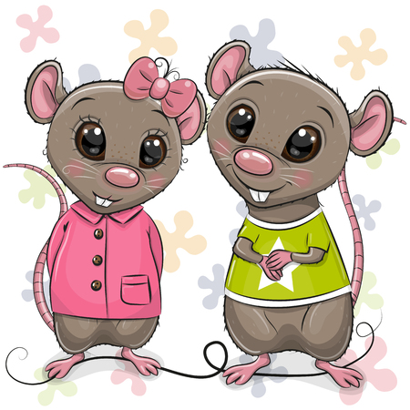 Two cute Cartoon Rats on a flowers background Çizim