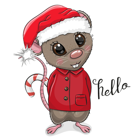 Cute Cartoon Rat in Santa hat on a white background