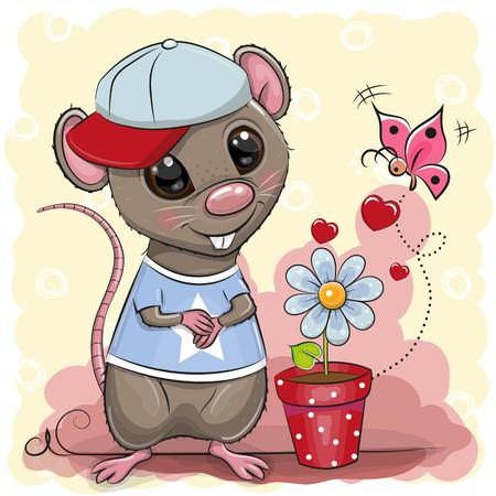 Greeting card cute cartoon Rat boy with flower