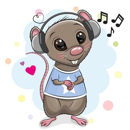 Rat mignon de bande dessinée avec des écouteurs sur un fond blanc