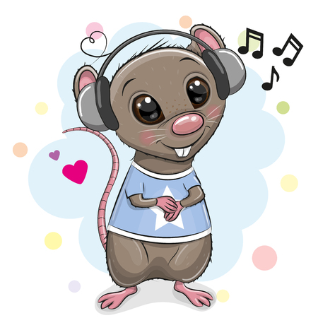 Rata de dibujos animados lindo con auriculares sobre un fondo blanco