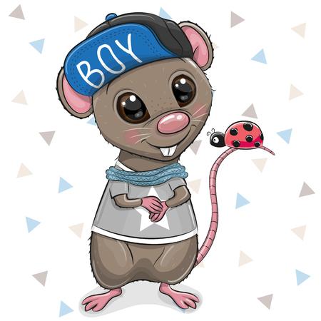 Cute Cartoon Rat in cap on a white background