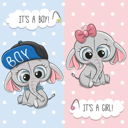 Babyparty-Grußkarte mit süßem Elefantenjungen und -mädchen Vektorgrafik