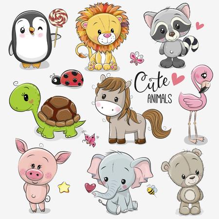Conjunto de lindos animales de dibujos animados sobre un fondo blanco.