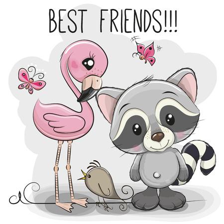 Cute Cartoon Raccoon and Flamingo on a pink background Иллюстрация