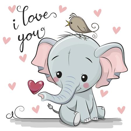 Elefante simpatico cartone animato con cuore su sfondo bianco