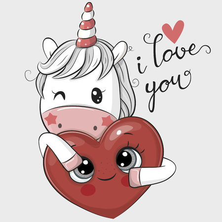 Cute Cartoon Unicorn with Heart on a white background