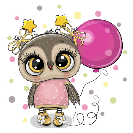 Greeting card Cute Cartoon Owl with pink balloon Illustration