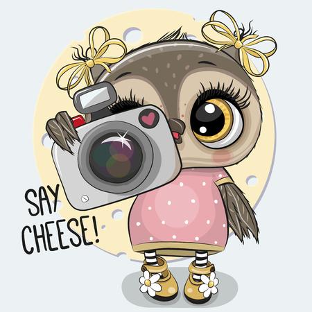Cute cartoon Owl with a camera on a blue background