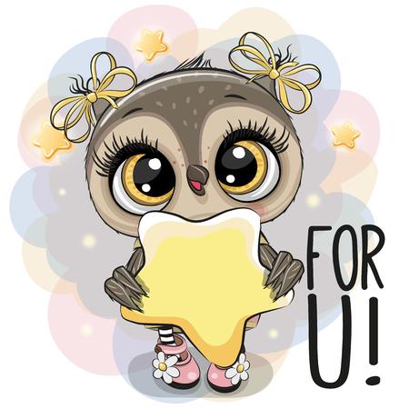 Nettes Karikatur-Eulenmädchen mit Stern auf dem Sternenhintergrund