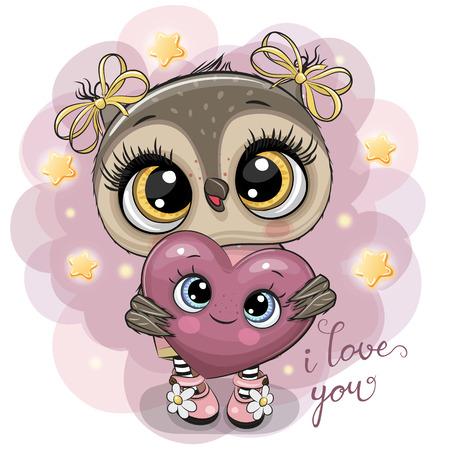 Cute Cartoon Owl girl with heart on the stars background