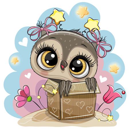 Birthday card with a Cute Cartoon Owl girl and a box