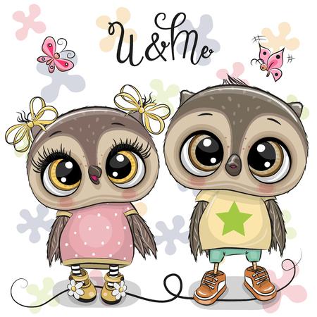Two Cute Cartoon Owls on a flowers background Çizim