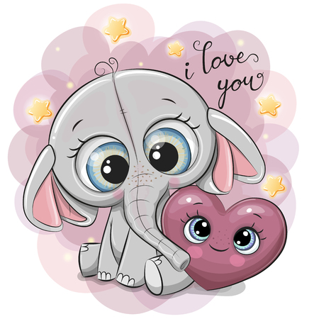 Cute Cartoon Elephant with heart on the stars background Illustration