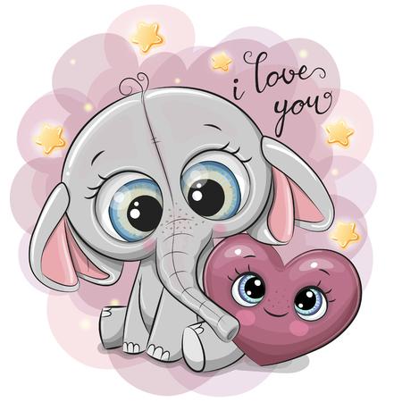 Elefante de dibujos animados lindo con corazón en el fondo de estrellas