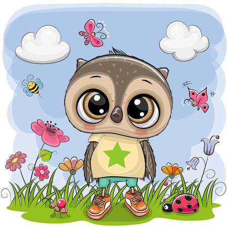 Cute Cartoon Owl Boy on a meadow with flowers and butterflies