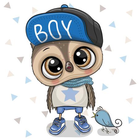 Cute Cartoon Owl boy with a blue cap on a white background Çizim