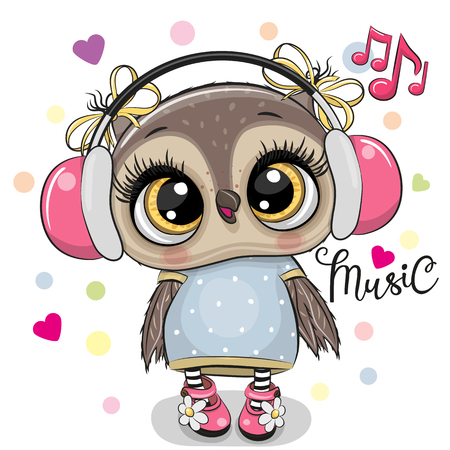 Cute cartoon Owl girl with pink headphones on a white background Banque d'images - 118130410