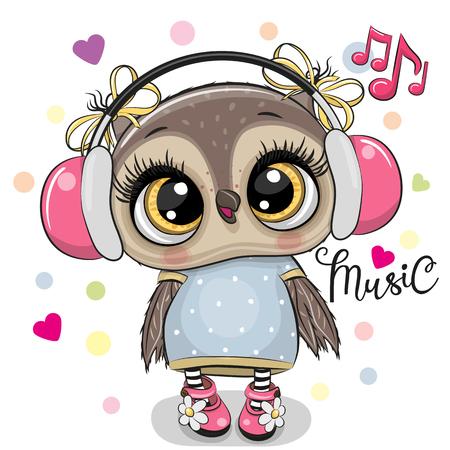 Fille mignonne de hibou de bande dessinée avec des écouteurs roses sur un fond blanc