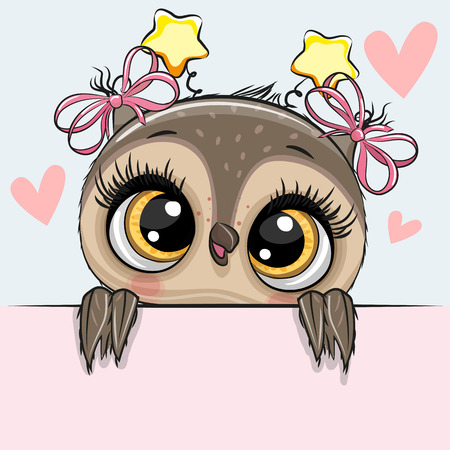 Greeting card cute Cartoon Owl Girl with hearts