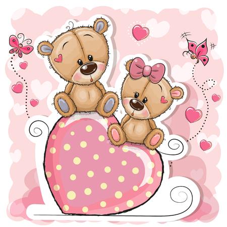 Deux ours de dessin animé sont assis sur un coeur sur fond rose
