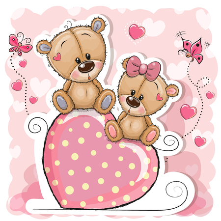 Two Cartoon Bears is sitting on a heart on a pink background