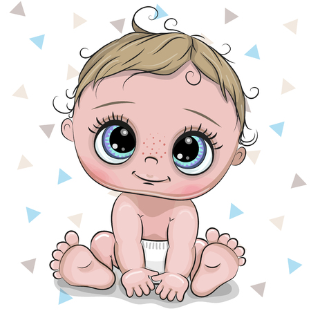 Cute cartoon baby boy isolated on a white background Stock Vector - 118130440