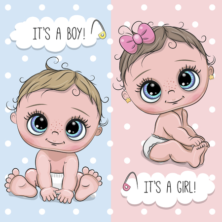 Baby Shower greeting card with Cartoon babies boy and girl