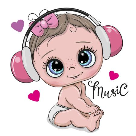 Niña de dibujos animados lindo con auriculares de color rosa sobre un fondo blanco