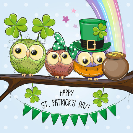 St Patricks greeting card with cute three owls