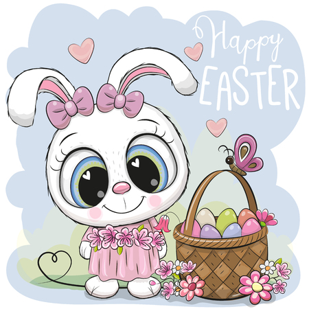 Cute Cartoon Bunny with a basket of Easter eggs